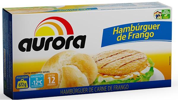 Hambúrguer frango Aurora caixeta 12 x 56 g
